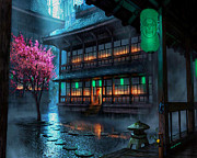 Stepping Stones Photo Prints - Raining in Chinatown Print by Cheryl Young