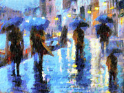 Umbrella Mixed Media Posters - Raining In Italy Abstract Realism Poster by Zeana Romanovna