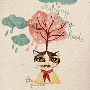 Raining Drawings Posters - Raining in my head Poster by Patcharaporn Kamonpet