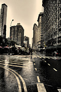 Flatiron Building Posters - Raining on Flatiron Poster by David Bearden