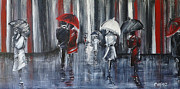 Rainy Street Painting Framed Prints - Rainwalk Framed Print by Christie Clunan