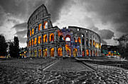 Cobblestone Prints - Rainwashed Coloseum at Dawn Print by John  Bartosik