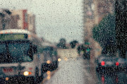 Showers Prints - Rainy City Street Print by Kim Fearheiley