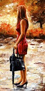 Woman Prints - Rainy day - After the Rain Print by Emerico Imre Toth