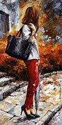 Jeans Posters - Rainy day - After the Rain II Poster by Emerico Imre Toth