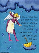 Umbrella Drawings Framed Prints - Rainy Day Angel Framed Print by Sarah Batalka