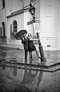 Kathleen K Parker - Rainy Day at Pirates Alley Lamppost-bw