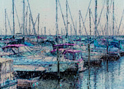 Docked Boat Digital Art Prints - Rainy Day At The Lakefront Print by Jack Zulli