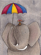 Cartoon Animals Framed Prints - Rainy Day Framed Print by Christy Beckwith