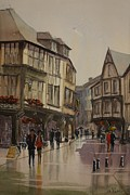 Loose Paintings - Rainy Day in Dinan by John Fuller