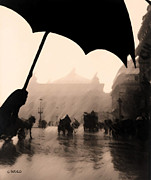 Umbrella Pastels Prints - Rainy Day in Paris Print by George Pedro