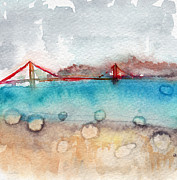 Bridge Mixed Media Framed Prints - Rainy Day In San Francisco  Framed Print by Linda Woods