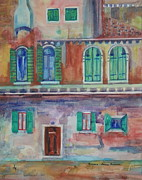 Rainy Street Painting Framed Prints - Rainy Day in Venice Italy Framed Print by Anna Ruzsan