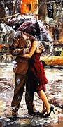 Smiling Painting Posters - Rainy day - Love in the rain 2 Poster by Emerico Imre Toth