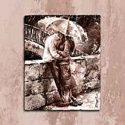 Rainy Day - Love In The Rain Style Mistyrose Print by Emerico Imre Toth