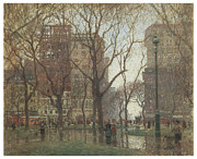 Rainy Day Painting Posters - Rainy Day Madison Square New York Poster by Paul Cornoyer