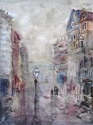 Old Town Drawings Acrylic Prints - Rainy Day Acrylic Print by Murat Kaboulov