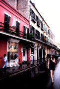 Raining Digital Art - Rainy day on Bourbon Street by Thomas R Fletcher