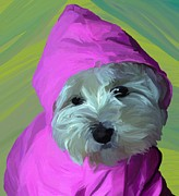 Westie Puppy Prints - Rainy Day Print by Patti Siehien