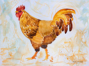 Barbara Mcmahon Prints - Rainy Day Rooster Print by Barbara McMahon