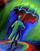 Trench Painting Metal Prints - Rainy Day Metal Print by Sebastian Pierre