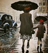 Raining Paintings - Rainy Day Shopping by Kevin Meredith