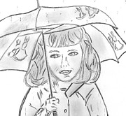 Umbrella Drawings Prints - Rainy Day Smile Print by Elizabeth Briggs
