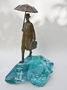 Israel Sculptures - Rainy Day by Uri Dushy