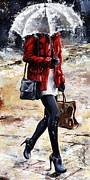 City Scenes Paintings - Rainy day - Woman of New York 09 by Emerico Imre Toth