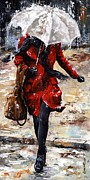 Rain Painting Metal Prints - Rainy day - Woman of New York 10 Metal Print by Emerico Imre Toth