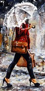 Rain Painting Metal Prints - Rainy day - Woman of New York 17 Metal Print by Emerico Imre Toth