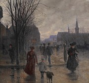 Dog Walking Posters - Rainy Evening on Hennepin Avenue Poster by Robert Koehler