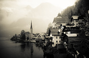 Salzkammergut Framed Prints - Rainy Hallstatt B and W Framed Print by David Waldo