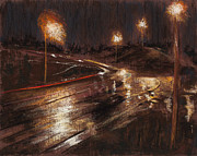 Traffic Pastels Posters - Rainy Minnesota Bypass Poster by Jocelyn Paine