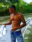 Boy Painting Originals - Rainy Morning Study by Douglas Simonson