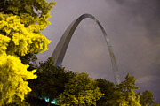 Jefferson National Expansion Memorial Posters - Rainy Night at the St Louis Arch Poster by Garry McMichael