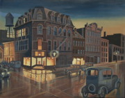 City Night Scene Paintings - Rainy Night in Buffalo by Stuart Swartz
