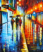 Building Painting Originals - Rainy Night in the City by Leonid Afremov
