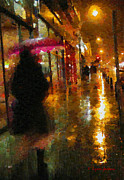 Streetlight Painting Posters - Rainy Night Stroll Poster by Lynne Jenkins