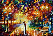 Rain Painting Framed Prints - Rainy Park Framed Print by Leonid Afremov