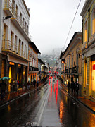 Souvenir Photo Studio Framed Prints - Rainy Quito Street Framed Print by Al Bourassa