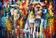 Rainy City Framed Prints - Rainy Shopping Framed Print by Leonid Afremov