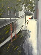 Pamela Meredith Framed Prints - Rainy Street in Melbourne Framed Print by Pamela  Meredith