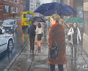 Rainy Street Painting Framed Prints - Rainy Street Framed Print by Peter Lee