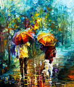 Leonid Afremov Art - Rainy Stroll With A Dog by Leonid Afremov