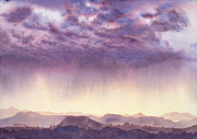 Big Skies Paintings - Rainy sunset in New Mexico by Janaka Ruiz