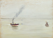 Sailboat Paintings - Rainy Weather on the Elbe by Max Liebermann