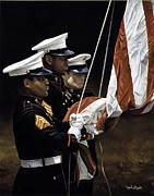 Paul Collins Paintings - Raising of the Colors by Paul Collins