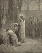 Christianity Drawings - Raising the Daughter of Jairus by Antique Engravings
