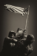 Marine Corp Prints - Raising the flag on Iwo - Front Print by Paul W Faust -  Impressions of Light